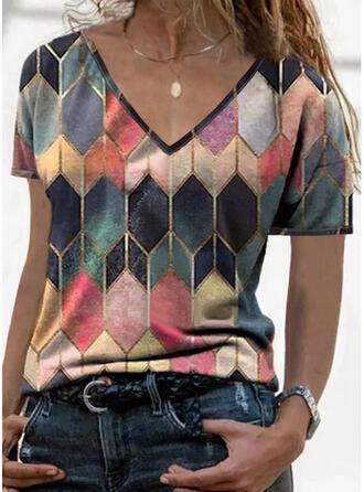 Geometric Print V-Neck Short Sleeves T-shirts