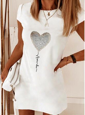 Imprimée/Cœur/Letter Manches Courtes Droite Au-dessus Du Genou Élégante Robes