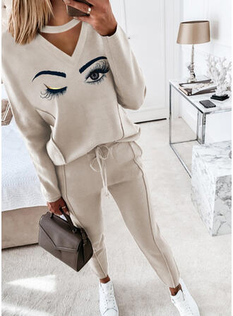 Eye Print Casual Blouse & Pants Two-Piece Outfits Set
