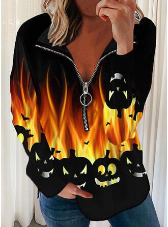 Halloween Print Lapel Long Sleeves Sweatshirt