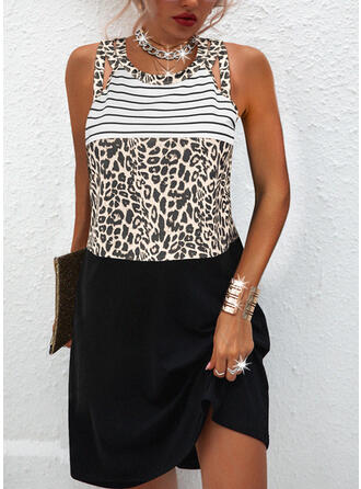 Color Block/Leopard Sleeveless Shift Knee Length Casual Dresses