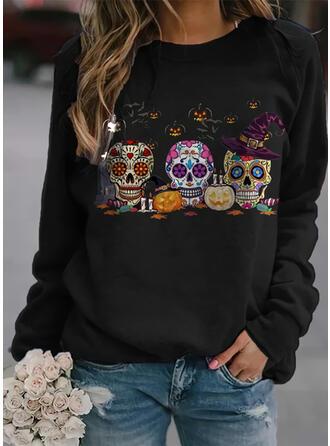 Halloween Print Floral Heart Skull head Round Neck Long Sleeves Sweatshirt