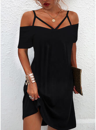 Solid Short Sleeves Cold Shoulder Sleeve Shift Above Knee Little Black/Casual Dresses
