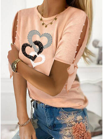 Print Beaded Heart Cold Shoulder Short Sleeves Casual Blouses