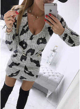 Print Knit Long Sleeves Bodycon Above Knee Casual Sweater Dresses