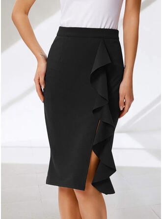 Polyester Plain Knee Length Pencil Skirts