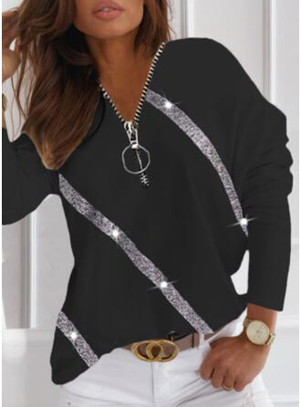 Print Sequins V-Neck Long Sleeves Dropped Shoulder Casual Blouses