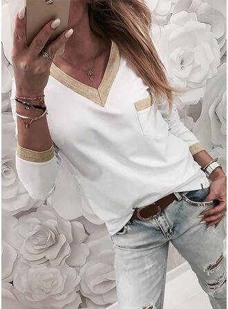 Bloc de Couleur Col V Manches Longues T-shirts