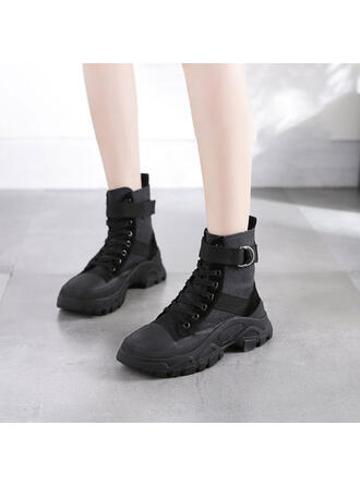 Femmes Vrai cuir Talon compensé Compensée Bottes avec Dentelle chaussures