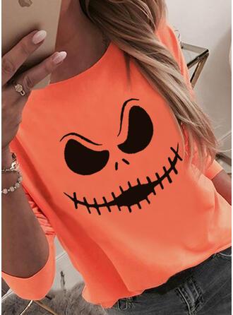 Halloween Print Round Neck Long Sleeves T-shirts