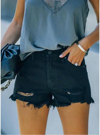 Couleur Unie Déchiré Tassel Élégante Sexy Short Jeans
