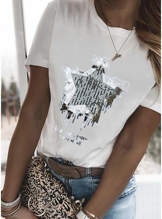 Imprimé Letter Col Rond Manches Courtes T-shirts