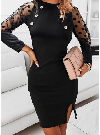 Solid/PolkaDot Long Sleeves Raglan Sleeve Sheath Above Knee Little Black/Elegant Dresses