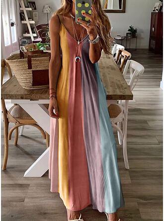 Print/Color Block Sleeveless A-line Slip/Skater Casual/Vacation Maxi Dresses