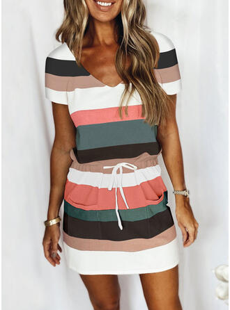 Striped Color Block Casual Plus Size Tee & Two-Piece Outfits Set