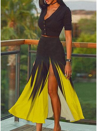 Color Block Elegant Plus Size Sexy Blouse & Two-Piece Outfits Set