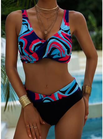 Taille Haute Imprimé Épissage Couleur À Bretelles Col V Sexy Vintage Boho Bikinis Maillots De Bain