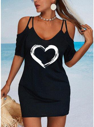 Print/Heart 1/2 Sleeves Sheath Above Knee Casual Dresses