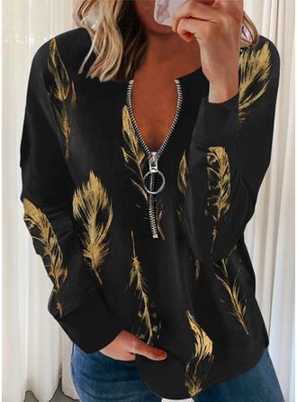 Print Feather V-Neck Long Sleeves Sweatshirt