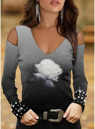 Floral Gradient Print Cold Shoulder Long Sleeves T-shirts