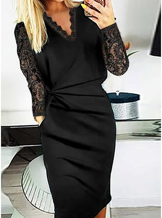 Solid Lace Long Sleeves Bodycon Pencil Little Black/Elegant Midi Dresses