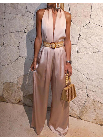 Solid Halter Sleeveless Party Sexy Jumpsuit
