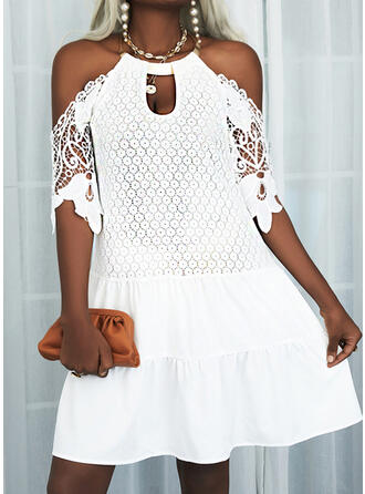 Lace/Solid 1/2 Sleeves Shift Knee Length Casual Tunic Dresses