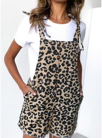 Leopard Strap Sleeveless Casual Romper