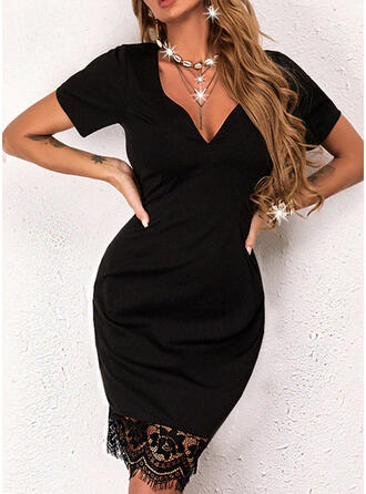 Solid Lace Short Sleeves Bodycon Above Knee Little Black/Casual Dresses