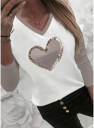 Color Block Heart Print Sequins V-Neck Long Sleeves T-shirts