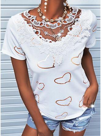 Print Heart V-Neck Short Sleeves Casual Blouses