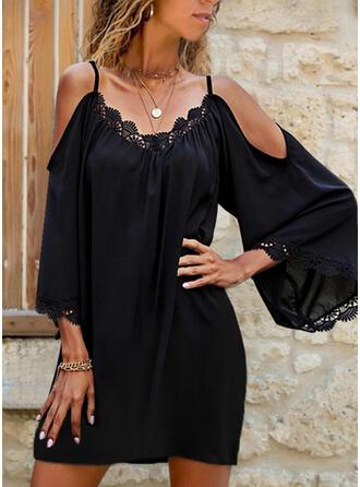 Dentelle/Couleur Unie Manches 3/4 Droite Au-dessus Du Genou Petites Robes Noires/Décontractée Tunique Robes
