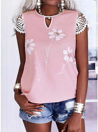 Print Floral Letter Round Neck Short Sleeves Casual Blouses