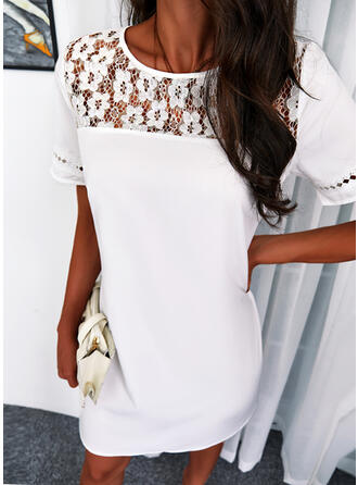 Solid Lace Short Sleeves Shift Knee Length Casual/Elegant Tunic Dresses