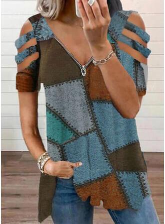 Color Block Cold Shoulder Short Sleeves Cold Shoulder Sleeve Casual Blouses