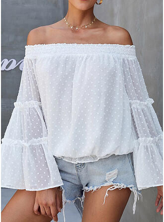 Solid Off the Shoulder Long Sleeves Flare Sleeve Casual Blouses