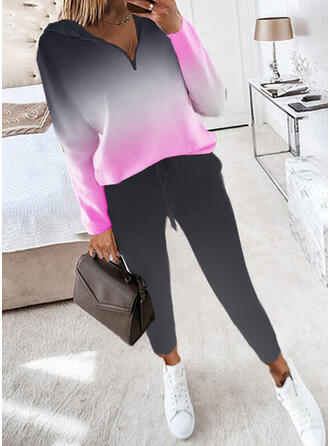 Print Casual Plus Size Sweatshirts & Two-Piece Outfits Set
