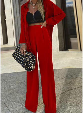 Solid Casual Elegant Shirred Two-Piece Outfits