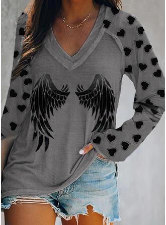 Heart Print V-Neck Long Sleeves T-shirts