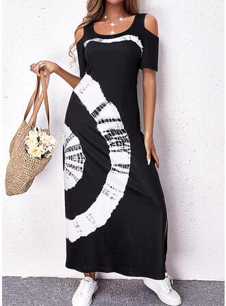Print Short Sleeves Cold Shoulder Sleeve Shift Casual Maxi Dresses