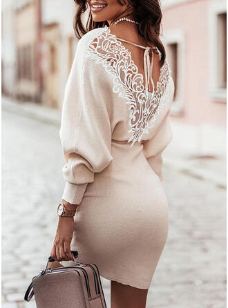 Solid Lace V-Neck Casual Sweater Dress
