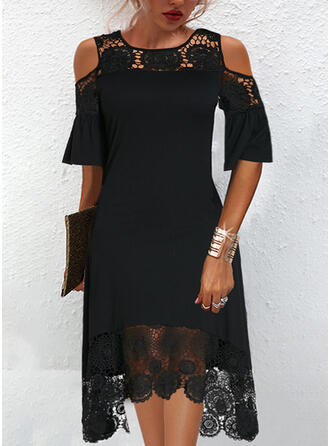 Solid Lace 1/2 Sleeves Cold Shoulder Sleeve Shift Knee Length Little Black/Elegant Dresses