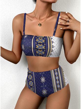 Taille Haute Imprimé À Bretelles Sexy Accrocheur Bikinis Maillots De Bain