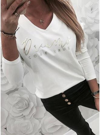 Imprimé Letter Col V Manches Longues T-shirts
