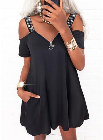 Solid Sequins Short Sleeves Cold Shoulder Sleeve Shift Above Knee Casual Dresses