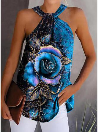 Floral Print Halter Sleeveless Tank Tops