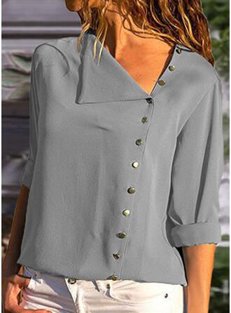 Solid Asymmetrical Long Sleeves Dropped Shoulder Casual Blouses