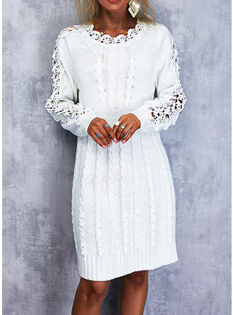 Solid Lace Long Sleeves Shift Above Knee Elegant Sweater Dresses