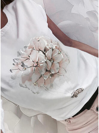 Fleurie Imprimé Col Rond Manches Courtes T-shirts