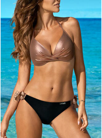 Solid Color Triangle Halter V-Neck Sexy Elegant Bikinis Swimsuits